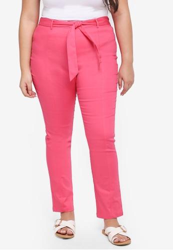 ELVI pink Plus Size Dioxide High Waist Cigarette Trousers F0A72AA802682DGS_1