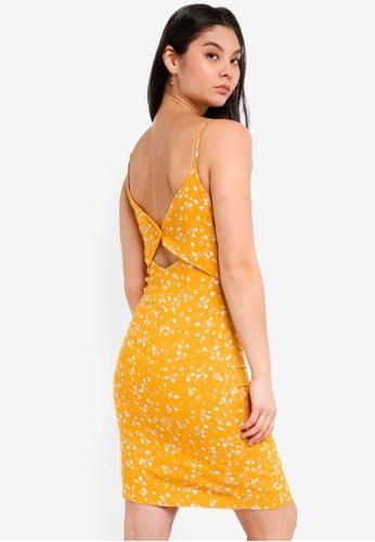 ICHI yellow Cant Dress 53F26AA6475FE5GS_1