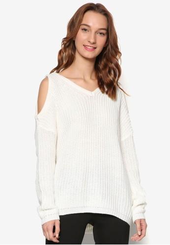 Lara 針織V領挖肩長袖衫,zalora taiwan 時尚購物網鞋子 服飾, 外套