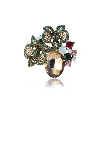 Glamorousky silver Fashion Vintage Plated Gold Geometric Flower Brooch with Cubic Zirconia 9BB6CAC2E0124DGS_1
