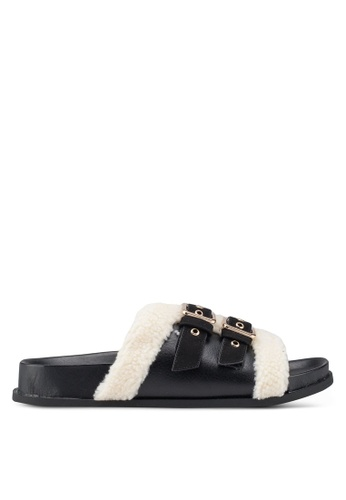 River Island black Borg Trim Sliders 02A63SH355D23FGS_1