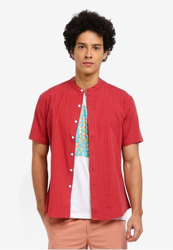 ZALORA red Patterned Stripes Mandarin Collar Short Sleeve Shirt 2CD19AAAF2DBB7GS_1
