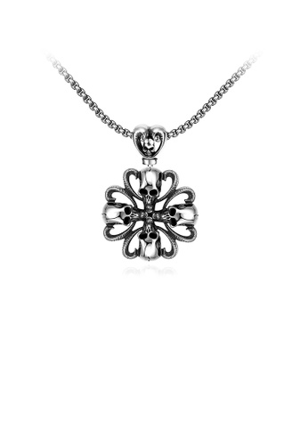 Glamorousky silver Fashion Classic Mayan Skull Pendant with 316L Stainless Steel Necklace DE665ACFA6E908GS_1