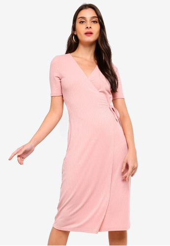 ZALORA pink Wrapped Rib Dress 3D569AA3BBEDBCGS_1