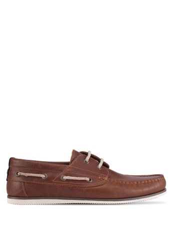 River Island brown Leather Boat Shoes F2F03SHE20AD66GS_1