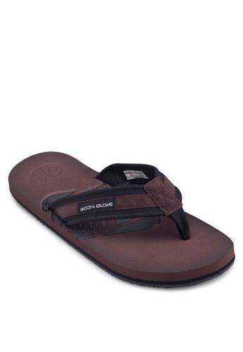 壓紋雙esprit 高雄色夾腳拖鞋, 鞋, 鞋