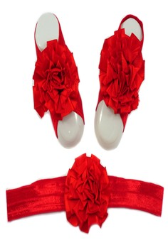 Baby Headband and Barefoot Sandals (Ruffled Flower) Red Set 0mons+