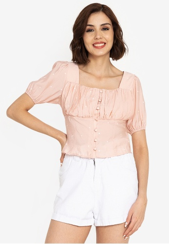 ZALORA BASICS pink Ruched Button Front Top F4354AA9D6FB03GS_1