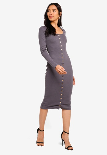 Shop MISSGUIDED Ribbed Popper Long Sleeve Midi Dress Online on ZALORA  Philippines 4d796016d