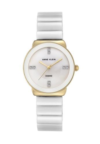 Anne Klein white and gold Anne Klein Ladies - Diamond Accented Watch - AK-2714WTGB AN844AC0RH87MY_1