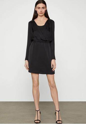 BCBG Max Azria black Satin Surplice Dress DF88DAA0A62F0AGS_1