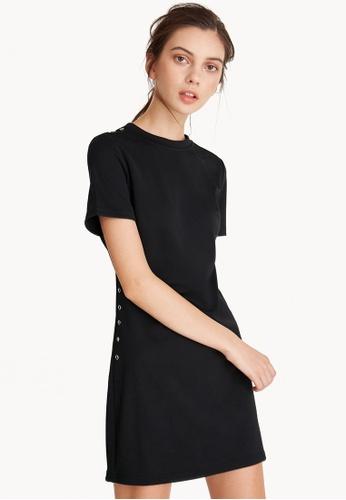 Pomelo black Side Button Up Box Dress C1837AACA2C496GS_1