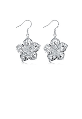 Glamorousky silver Fashion Elegant Flower Pierced Earrings 793FCAC88395CDGS_1