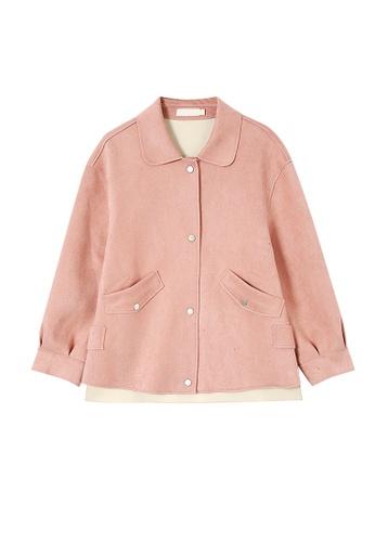 Its Me pink Simple Faux Deerskin Velvet Lapel Coat 3A7D2AA21F180BGS_1