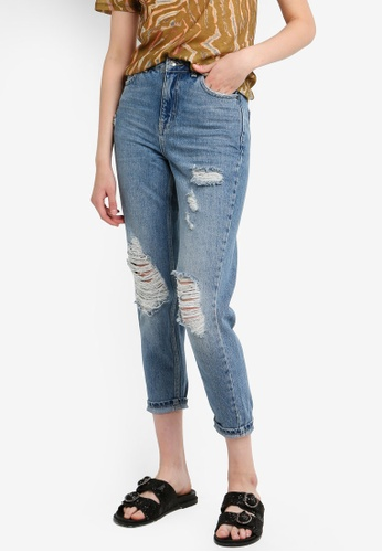 b29c981498dcd Buy TOPSHOP Petite Destroy Ripped Mom Jeans Online on ZALORA Singapore