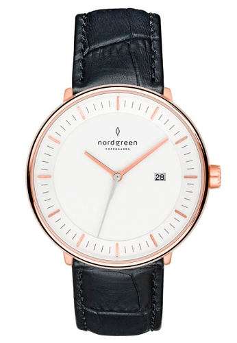 Nordgreen black and gold Nordgreen Philosopher Rose Gold 40 mm - Black Croc Leather Watch F210FAC09F8122GS_1