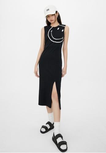 Pomelo black Smiley Side Slit Midi Dress - Black 5ED38AA381460EGS_1