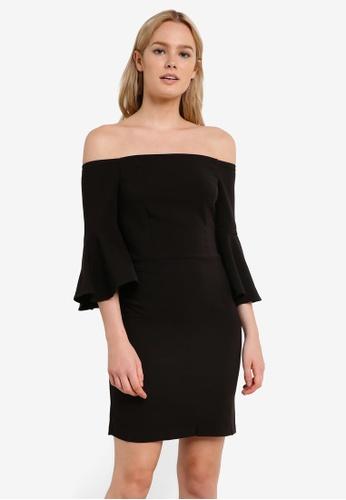 Miss Selfridge black Black Bardot Flute Sleeve Mini Shift Dress MI665AA0RI2BMY_1