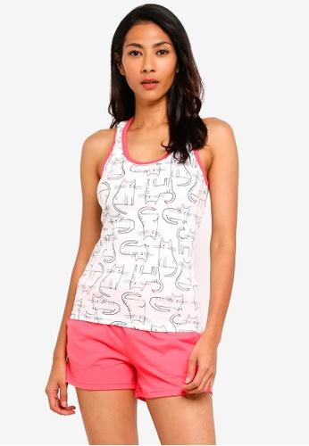 UniqTee white Graphic Print Tank Top and Pajama Shorts Set E3216AA7E057E5GS_1