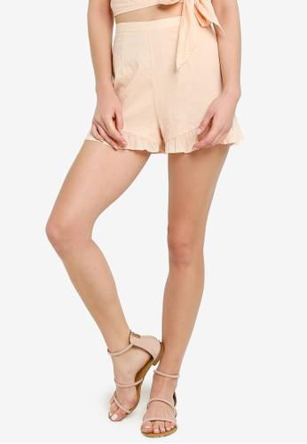 Miss Selfridge pink Peach Linen Shorts CAD26AAD5BE602GS_1