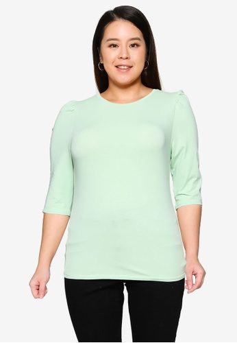Only CARMAKOMA green Plus Size Time 3/4 Puff Sleeve Top 91F45AA0FEB33BGS_1