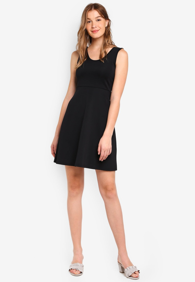 Dress Blush Scoop amp; BASICS pack 2 ZALORA Fit Flare Basic Black Neck nEXx0xzwPq