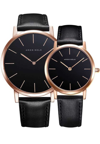 Aries Gold black Aries Gold Couple Set -  Santos G 1022 & L 1023 RG-BK Rose Gold and Black Leather Watch A1795AC3C57460GS_1