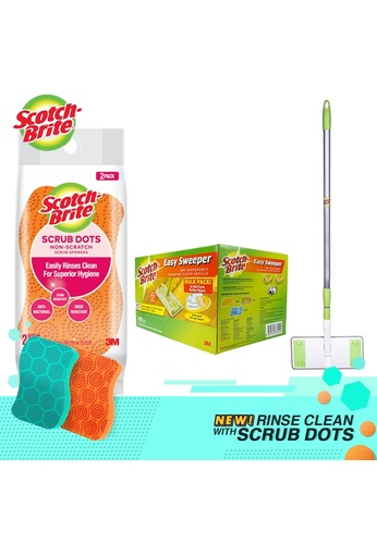 Scotch-Brite 3M Scotch-Brite Easy Sweeper Plus Paperwiper Starter Kit + Dry Wiper Bulk Pack 200 Sheets + Scrub Dots Non Scratch 2pcs 0CDDEES2C15A63GS_1