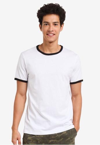 Burton Menswear London white Short Sleeve White And Black Ringer T-Shirt 16DD5AA878E63AGS_1