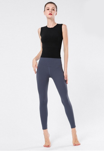 B-Code grey ZYG3066-Lady Quick Drying Running Fitness Yoga Sports Leggings -Grey 9C67DAABC77744GS_1