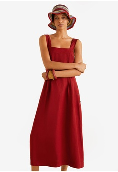 a0f421134b5 MANGO red Linen-Blend Midi Dress 230A9AA2122E88GS 1