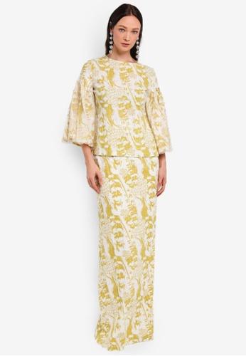 Alia B. yellow Rania Modern Kurung With Tulle Pearl Detail AL946AA0STDBMY_1
