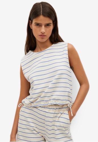 Mango blue Striped Cotton T-Shirt DDAF7AA327E562GS_1