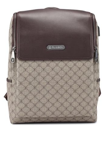 Playboy brown Faux Leather Backpack D2611AC1F71420GS_1