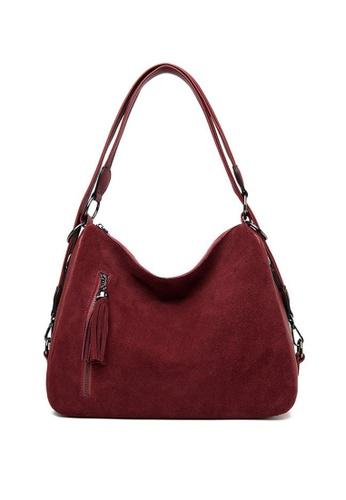 Lara red Women's Plain PU Leather Zipper Boston Bag - Wine Red 71E0CACE996337GS_1