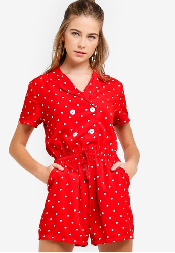 Something Borrowed red Button Shirt Playsuit 9B85DAA685EE66GS_1