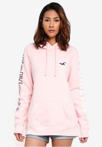 Hollister pink Print Core Logo Pullover AE1BCAA9E81055GS_1