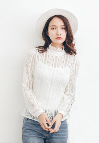 Shopsfashion white See Through Lace Blouse SH656AA70QWJSG_1