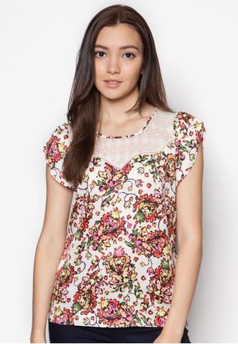 蕾絲拼接花卉印花上衣, zalora鞋子評價服飾, 上衣