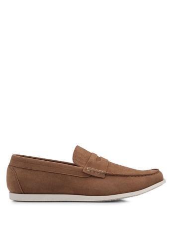 Burton Menswear London brown Tan Leather Look Saddle Loafers AC829SHB5C8BF2GS_1