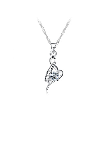 Glamorousky white 925 Sterling Silver Elegant Fashion Creative Heart Shape Pendant and Necklace with Cubic Zircon EFAC6AC83341E0GS_1