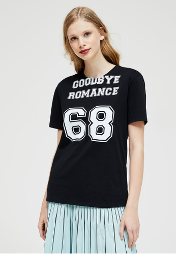 Sisley black Printed T-shirt C6A89AAAA754A4GS_1