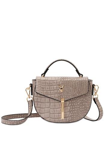 PLAYBOY BUNNY brown Playboy Bunny Croc Sling Bag 6599CAC93FD934GS_1