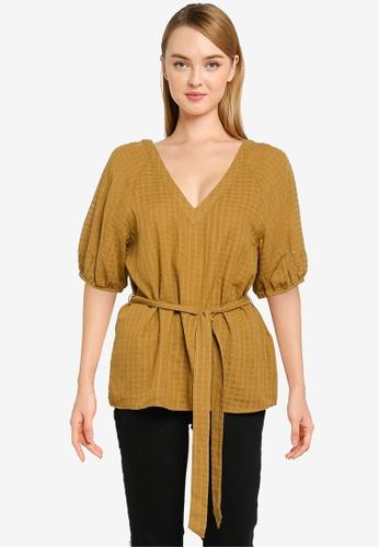 Banana Republic 黃色 短袖Windowpane Puff上衣 D16E4AA1D7F676GS_1