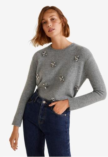 Mango grey Crystal Detail Sweatshirt 39372AA08FA124GS_1
