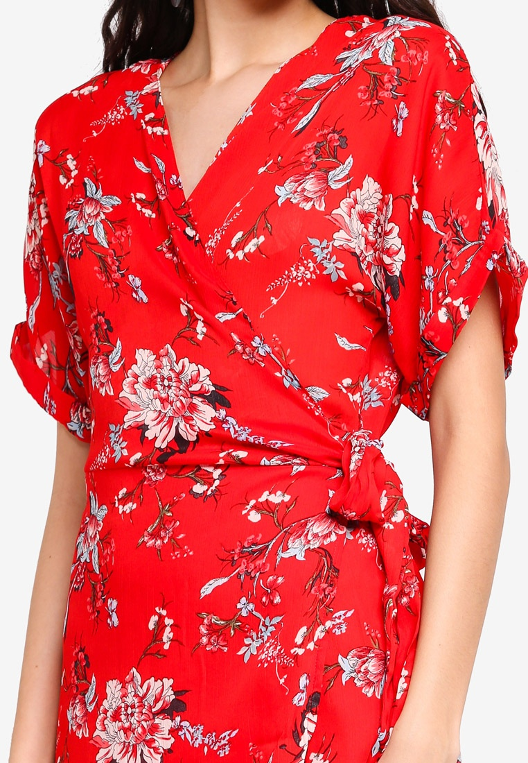 Floral Wrap Red Print Dress Liquorish zr0w60YqC
