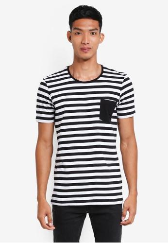 Cotton On 黑色 and 白色 短袖條紋口袋T恤 25A26AAFFA1B44GS_1
