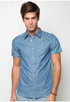 Denim Coloured Neps Short Sleeve Shirt
