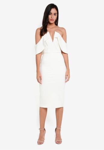 Lavish Alice white Ponte Bardot V Neck Midi Dress LA457AA0SSQLMY_1