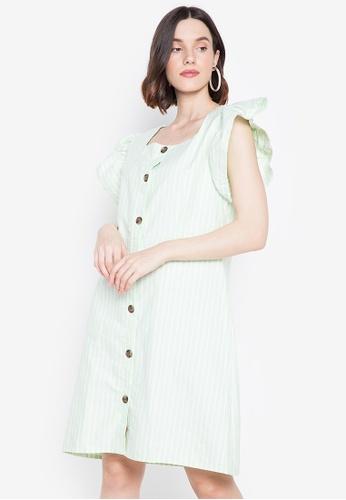 Chictees green Savanah Ruffle Sleeve Dress A1BA9AA96AF2CEGS_1